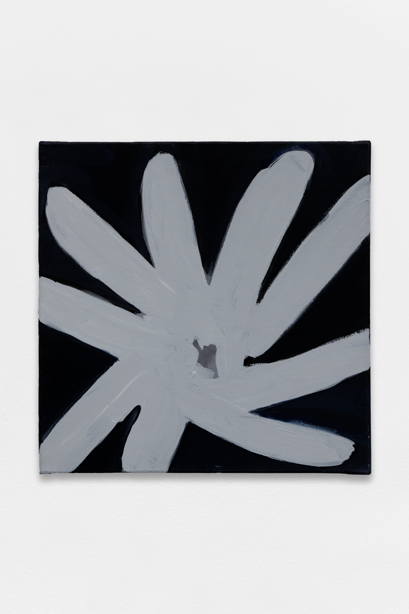 Flower, sikver, black, Tamuna Sirbiladze, 2014, oil on canvas, 60 x 60 cm — Galerie Éric Hussenot, Paris