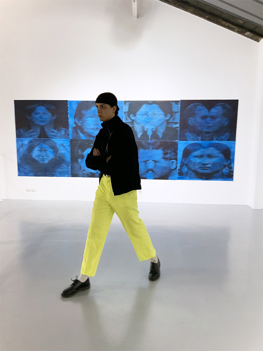 Still Representation (Judith Butler, Eduard Said, Trin T. Minha, Claude Levi-Strauss, Woman in egalitarian society, Simone de Beauvoir, Wlater Benjamin, Autonomous Woman), Elisabeth Penker, 2020, wallpaper, 166 x 476 cm — Galerie Éric Hussenot, Paris