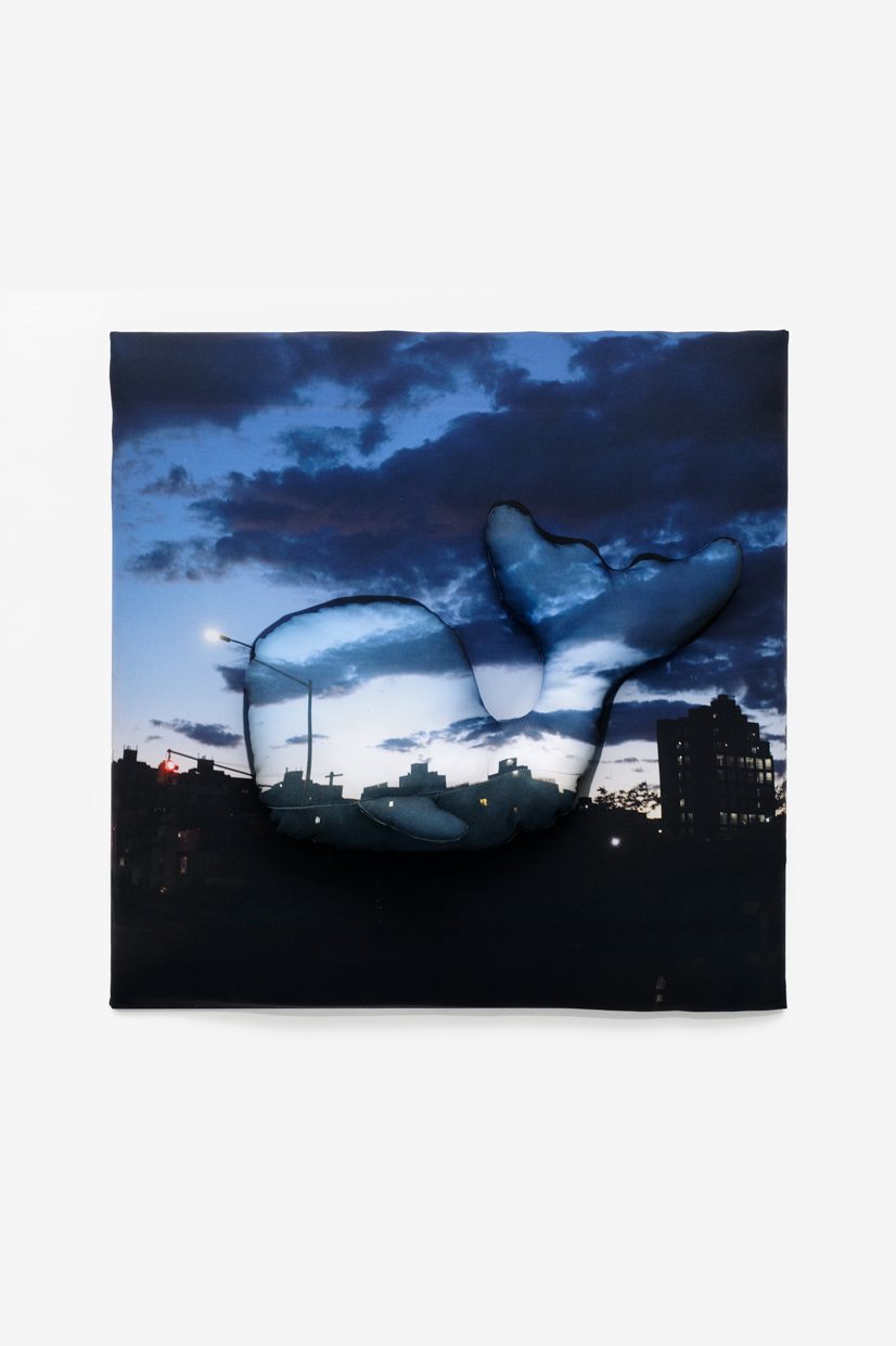 City at Night (+-), Antoine Catala, 2020, Dye sublimation on polyester, batting, wood  30 x 30 x 6 in (76.20 x 76.20 x 15.24 cm), Edition unique   — Galerie Éric Hussenot, Paris