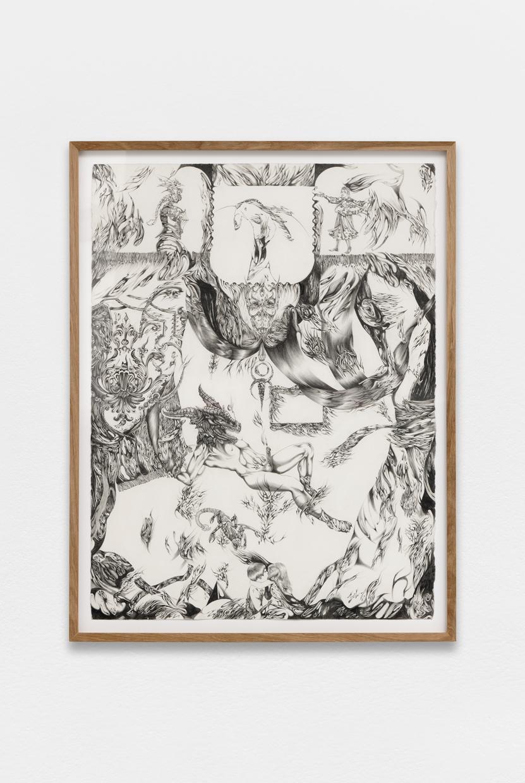 Stress subi, Lisa Signorini, 2019, Graphite on papier satiné,   30 x 22,5 in   (77 x 57 cm)   — Galerie Éric Hussenot, Paris