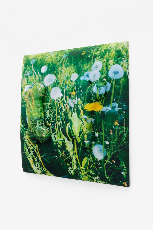 Dandelions on a Sunday (-+), Antoine Catala, 2020, Dye sublimation on polyester, batting, wood, 30 x 30 x 6 in (76.20 x 76.20 x 15.24 cm), Edition unique   — Galerie Éric Hussenot, Paris