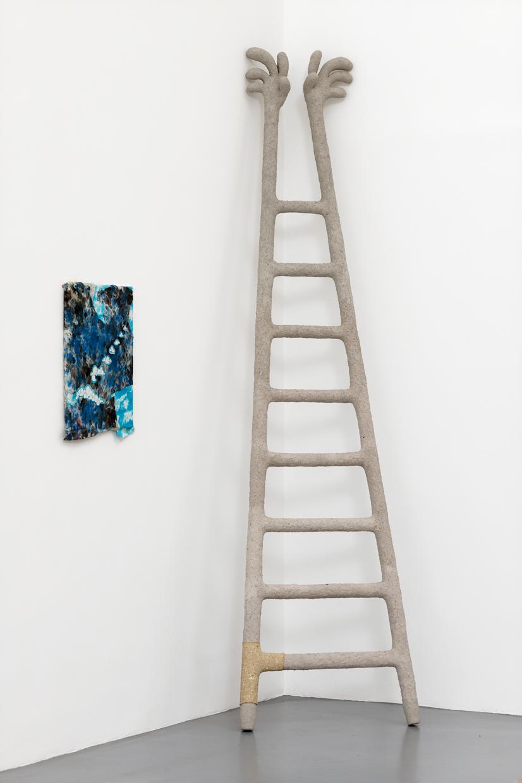 I Want ! I Want !,  avaf, 2020 , Papier mâché, confettis, enduit, colle vinylique, farine de maïs, huile de paraffine, scotch, bois , 75 x 5 x 290 (H) cm — Galerie Éric Hussenot, Paris