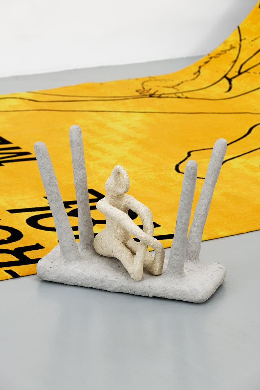 AC (appropriation culturelle),  avaf, 2020 , Papier mâché, confettis, enduit, colle vinylique, farine de maïs, huile de paraffine, scotch, papier aluminium, bois, plâtre, ongles , 50 x 21 x 42 (H) cm — Galerie Éric Hussenot, Paris