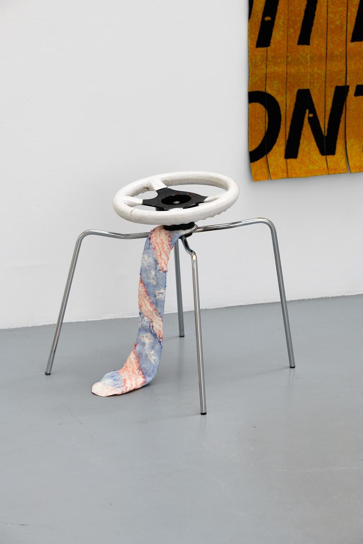 In Futurity,  avaf, 2020, Volant, cuir, acier chromé, mousse expansive,   55 x 40 x 50 (H) cm — Galerie Éric Hussenot, Paris