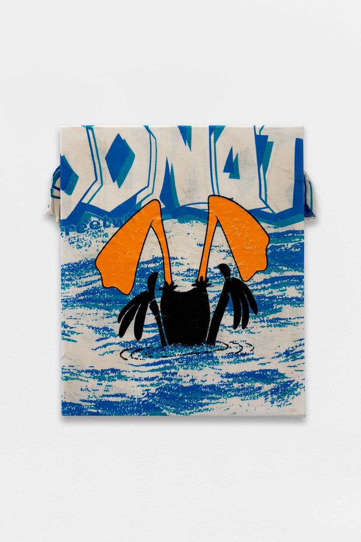 Peinture Peinture, (DUFFY),  avaf, 2020 , T-shirt de l'artiste marouflé sur toile, liant acrylique, 55 x 48 cm  — Galerie Éric Hussenot, Paris