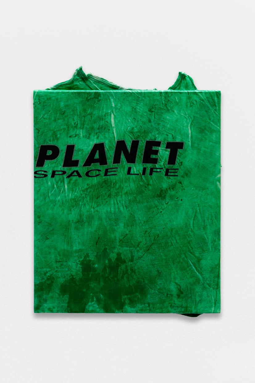Peinture Peinture, (Planet Space Life), avaf, 2020 , T-shirt de l'artiste marouflé sur toile, liant acrylique, 62 x 46 cm  — Galerie Éric Hussenot, Paris