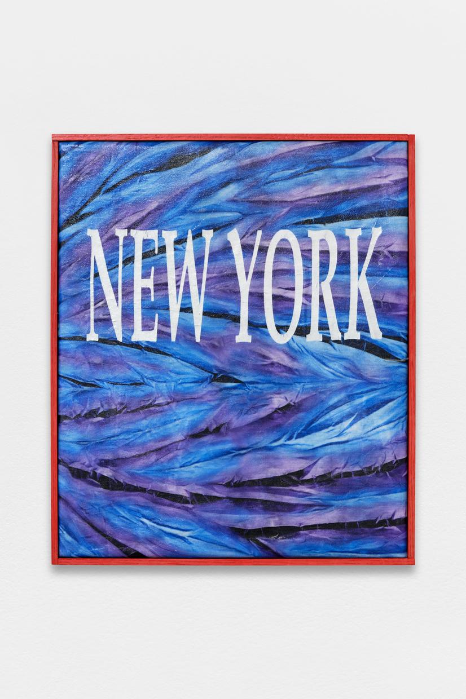 Peinture Peinture, (NYC),  avaf, 2020 , T-shirt de l'artiste marouflé sur toile, liant acrylique, filet d'ombrage, cadre de l'artiste, 57 x 48 cm  — Galerie Éric Hussenot, Paris