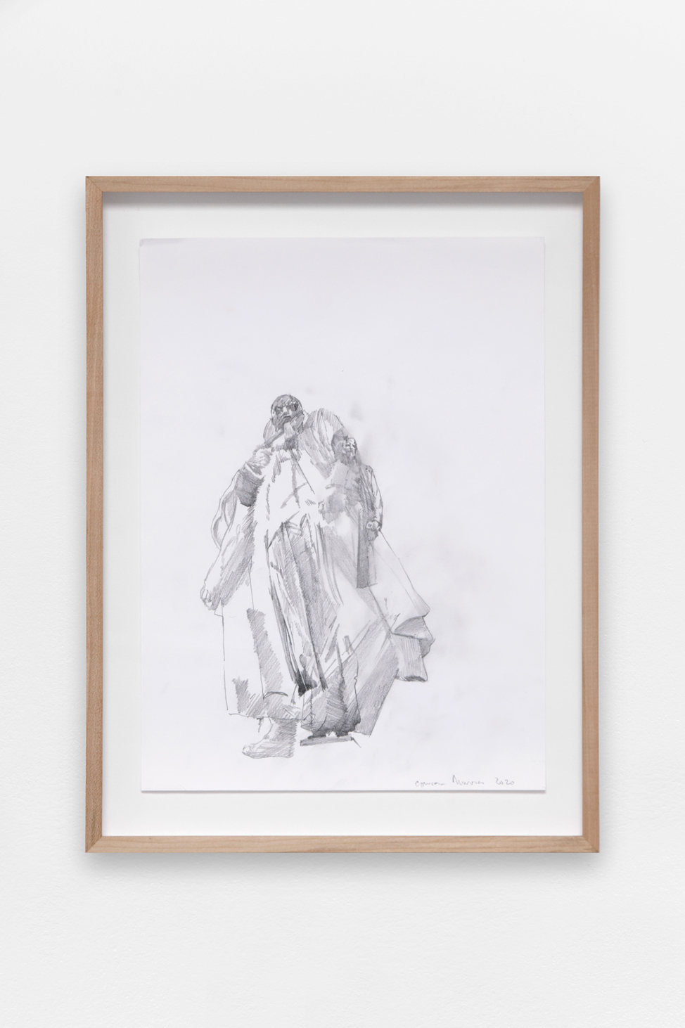 Preparatory drawing for a statue #1 , Ciprian Mureșan, 2020, Pencil on paper,  